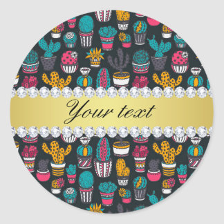 Colorful Cactus Faux Gold Bling Diamonds Classic Round Sticker