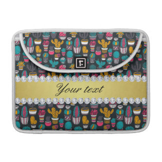 Colorful Cactus Faux Gold Bling Diamonds MacBook Pro Sleeve