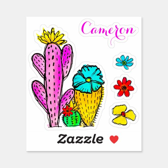 Colorful Cactus Floral Watercolor Fun Vinyl Decal