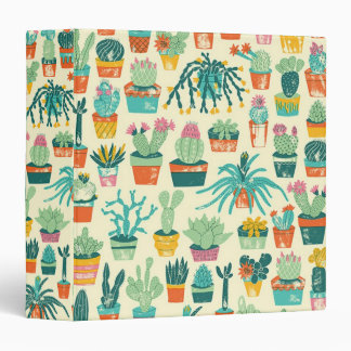 Colorful Cactus Flower Pattern 3 Ring Binder