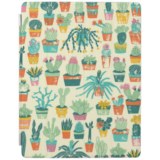 Colorful Cactus Flower Pattern Apple iPad Cover