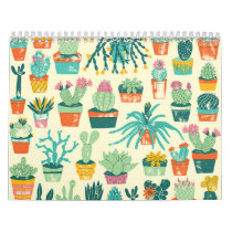 Colorful Cactus Flower Pattern Calendar