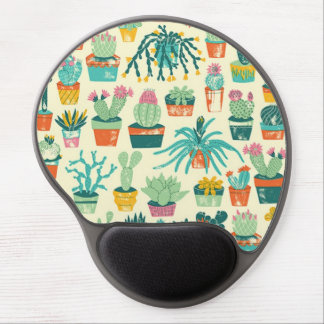 Colorful Cactus Flower Pattern Gel Mouse Pad