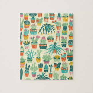 Colorful Cactus Flower Pattern Jigsaw Puzzle