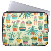 Colorful Cactus Flower Pattern Laptop Sleeve