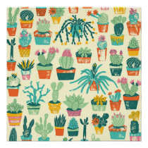 Colorful Cactus Flower Pattern Perfect Poster