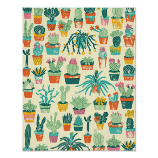 Colorful Cactus Flower Pattern Poster