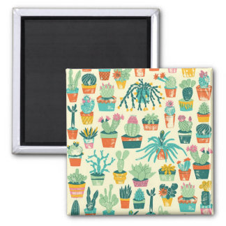 Colorful Cactus Flower Pattern Square Magnet
