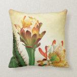 Colorful Cactus Flower Vintage Botanical Throw Pillow