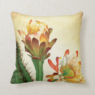 Colorful Cactus Flower Vintage Botanical Throw Pillow
