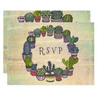 Colorful Cactus RSVP Card