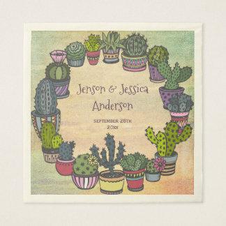 Colorful Cactus Wedding Personalized Napkin