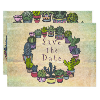 Colorful Cactus Wedding Save The Date Card