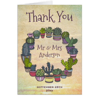 Colorful Cactus Weddomg Thank You Card