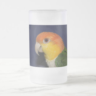 Colorful Caique Parrot Frosted Glass Beer Mug