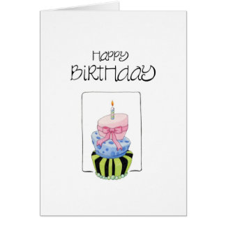 Colorful Cake Happy Birthday Card