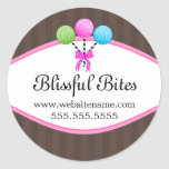 Colorful Cake Pops Bakery Box Seals Classic Round Sticker