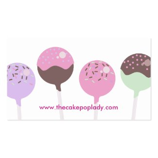 Colorful cake pops baking bakery business cards