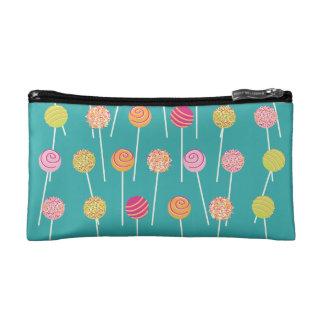Colorful Cake Pops on Teal Pattern Makeup Bag