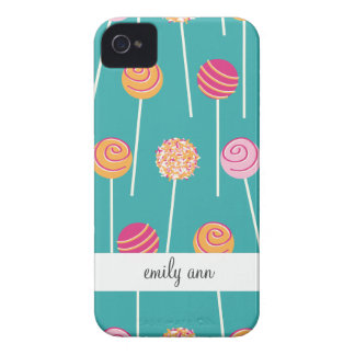 Colorful Cake Pops on Teal Pattern iPhone 4 Case-Mate Cases