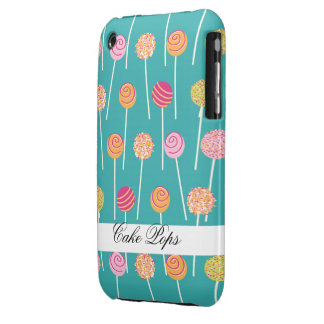 Colorful Cake Pops on Teal Pattern iPhone 3 Case-Mate Cases