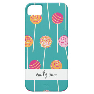 Colorful Cake Pops on Teal Pattern iPhone 5 Case