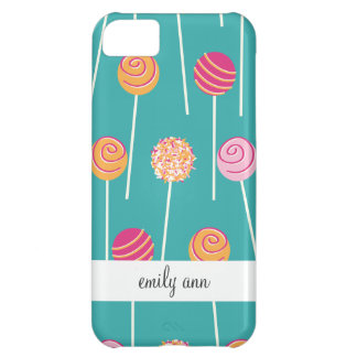 Colorful Cake Pops on Teal Pattern Case For iPhone 5C