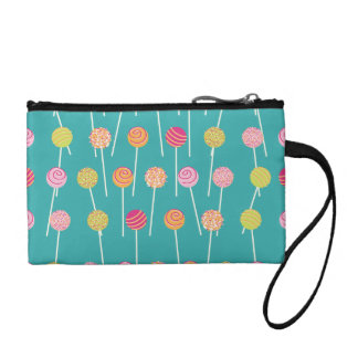 Colorful Cake Pops on Teal Pattern Coin Purse