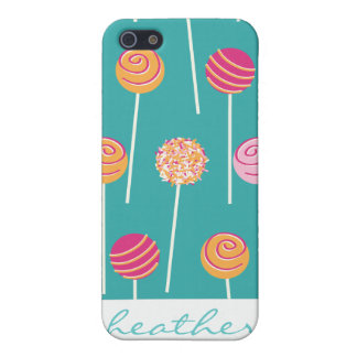 Colorful Cake Pops on Teal Pattern iPhone 5 Cases