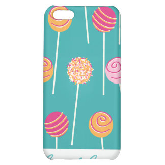 Colorful Cake Pops on Teal Pattern iPhone 5C Case