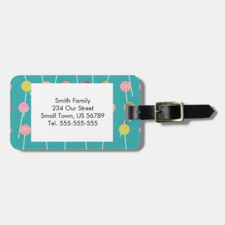 Colorful Cake Pops on Teal Pattern Luggage Tag