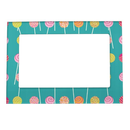 Colorful Cake Pops on Teal Pattern Magnetic Picture Frame