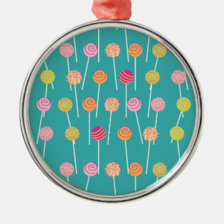 Colorful Cake Pops on Teal Pattern Metal Ornament