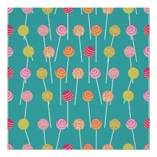 Colorful Cake Pops on Teal Pattern Posters