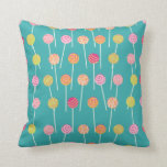 Colorful Cake Pops on Teal Pattern Throw Pillow