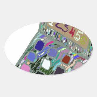 colorful calculator2 oval sticker