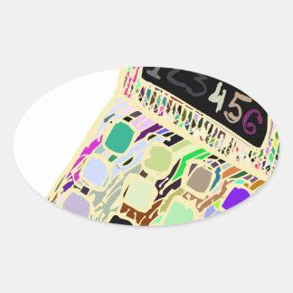 colorful calculator oval sticker