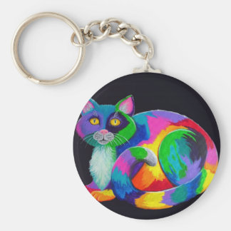 Colorful Calico Basic Round Button Keychain