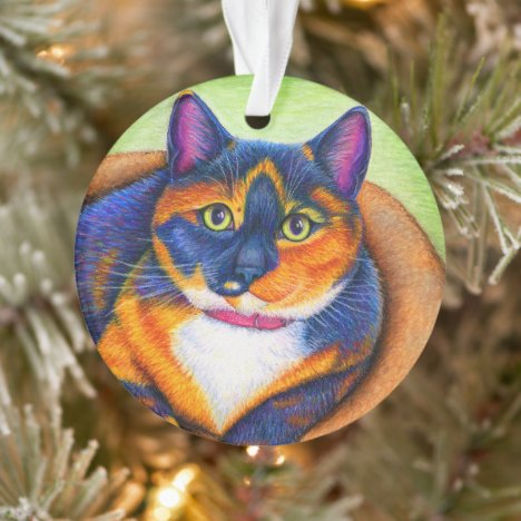 Colorful Calico Cat Acrylic Ornament