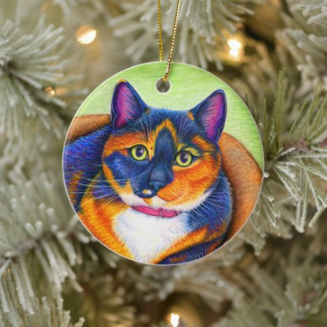 Colorful Calico Cat Ceramic Ornament