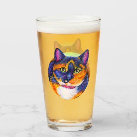 Colorful Calico Cat Drinking Glass Cup