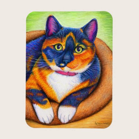 Colorful Calico Cat Flexible Magnet