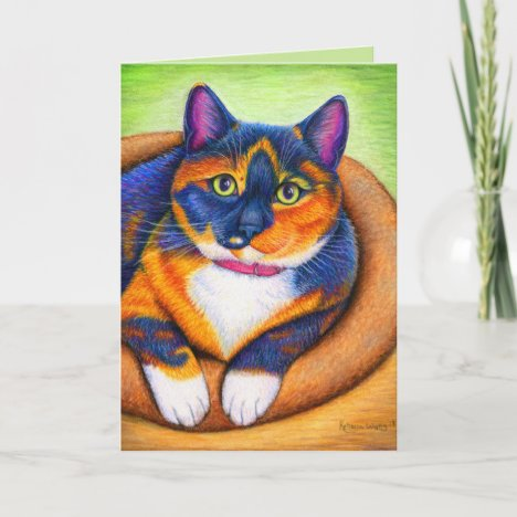Colorful Calico Cat Greeting Card