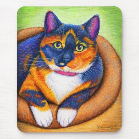 Colorful Calico Cat Mouse Pad