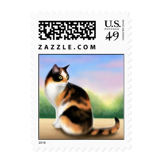 Colorful Calico Cat Postage
