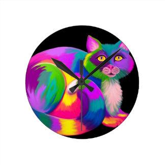 Colorful Calico Cat Round Clock