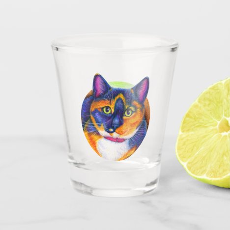 Colorful Calico Cat Shot Glass