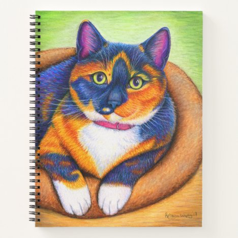 Colorful Calico Cat Spiral Notebook