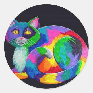 Colorful Calico Classic Round Sticker