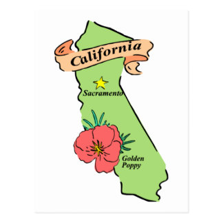 Colorful California Map Gifts and Tees Post Cards